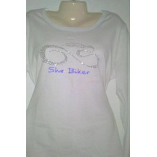 Ladies White Long Sleeve w/Clear & Blue Bling