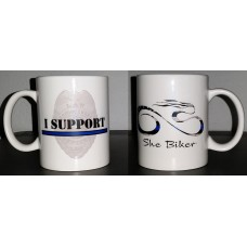 "She Biker ""I Support"" Thin Blue Line Collection - 11 oz Mug"